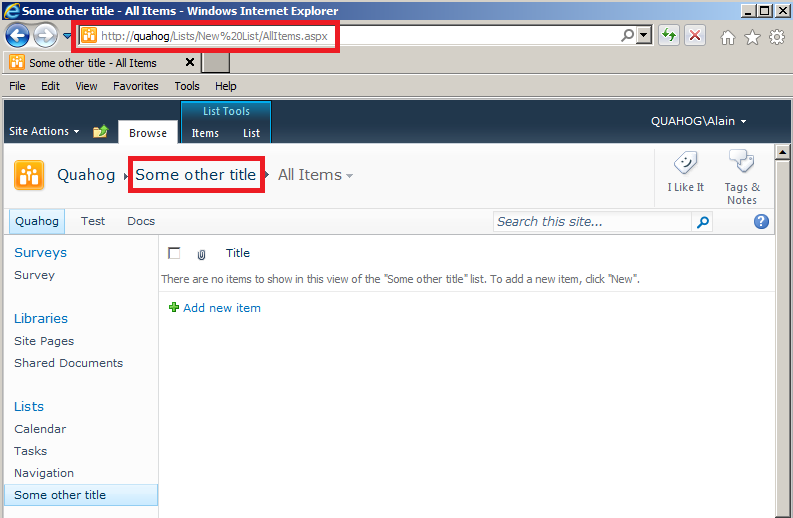 changing the url of an existing document library or list With document library url